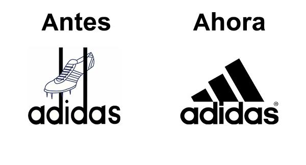 antes y después del logo de Adidas