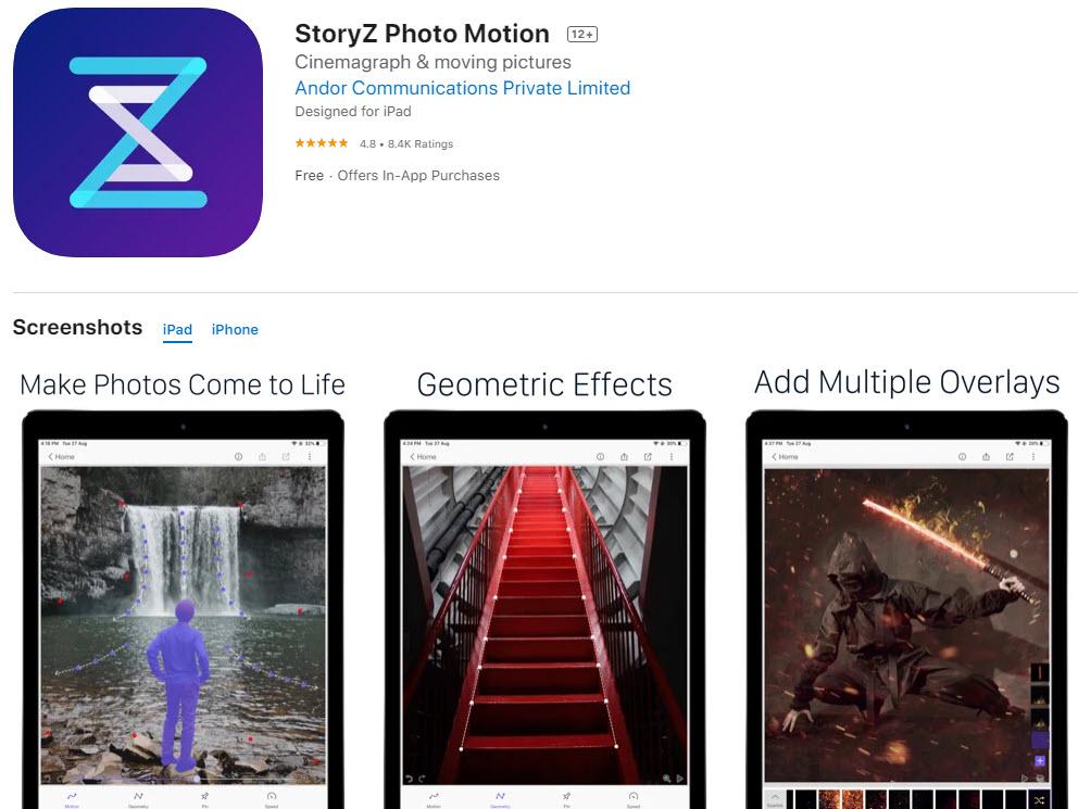 StoryZ Photo motion: la mejor aplicación para editar y añadir movimiento a las fotos