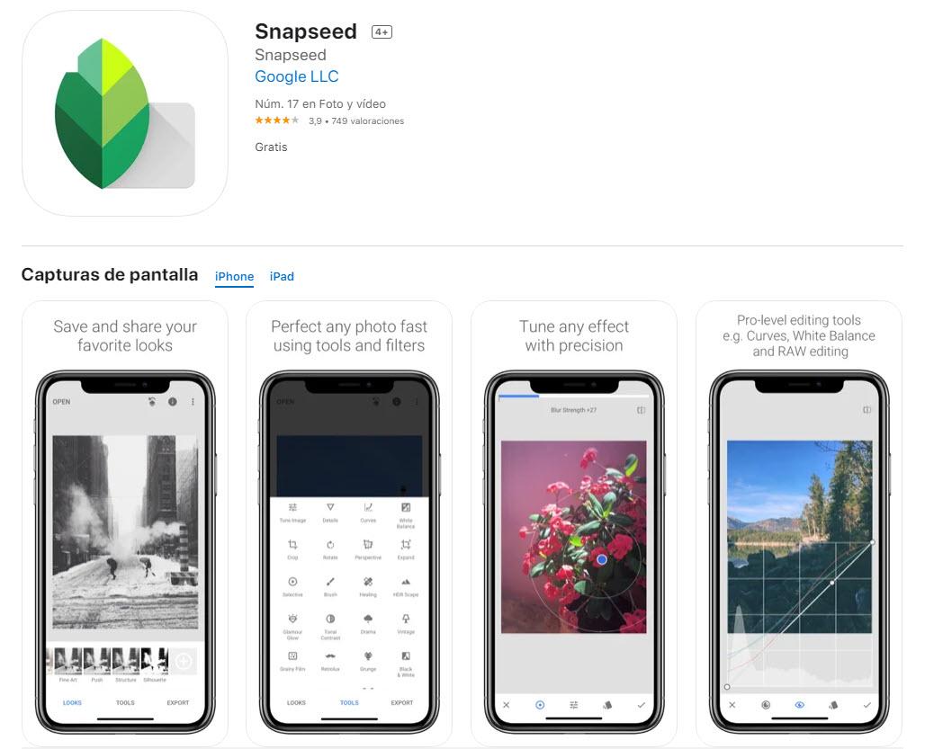 Snapseed: la aplicación más famosa para editar fotos en el celular