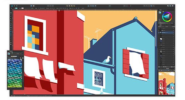 la interfaz de Affinity Designer