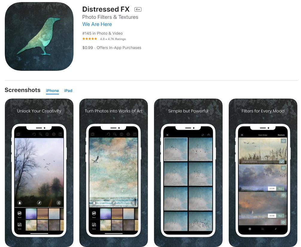 Distressed FX: la mejor app para editar fotos creativas