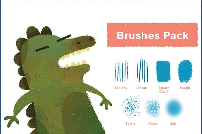 brushes tipo crayon para diseño infantil en photoshop